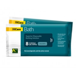 Hicare Bath Wipes Resealable 8 Cloth Packs Box of 25