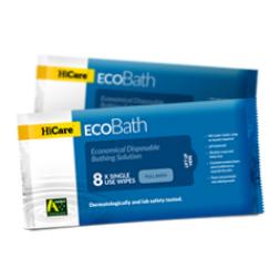 Hicare Bath Wipes Eco Bath Resealable 8 Cloth Pack Box of 30