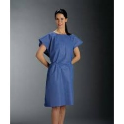 Patient Examination Gowns KC Blue Sleeveless with Separate Waist Tie B100