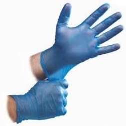 Blue Vinyl Powder Free Gloves Large Box of 100 (Food Handling)