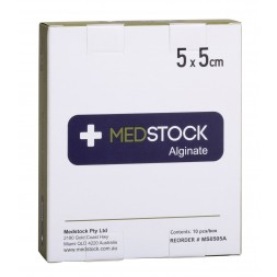 Medstock Alginate Dressing 5 x 5cm Box of 10