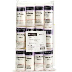 Medstock 100% Cotton Light Crepe Bandage 10cm x 4.5m Stretch Box of 12